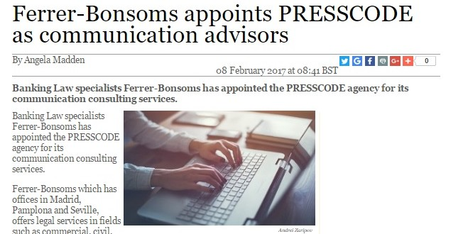 Ferrer-Bonsoms confía su comunicación a Presscode