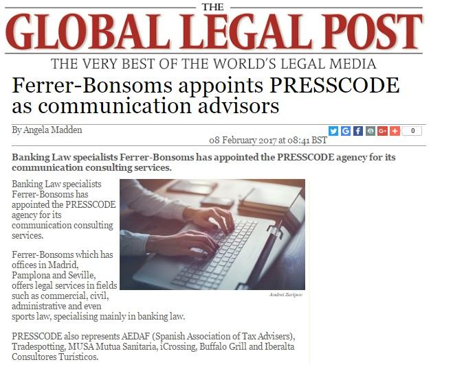 Presscode gestiona ya la comunicación del despacho Ferrer-Bonsoms