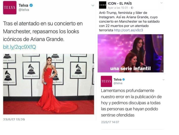 Algunos medios metieron la pata al usar el atentado de Manchester en el concierto de Ariana Grande como percha para colar su contenido, mostrando poca sensibilidad con las víctimas.